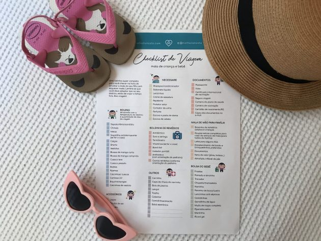 checklist de viagem mala de bebe e criança